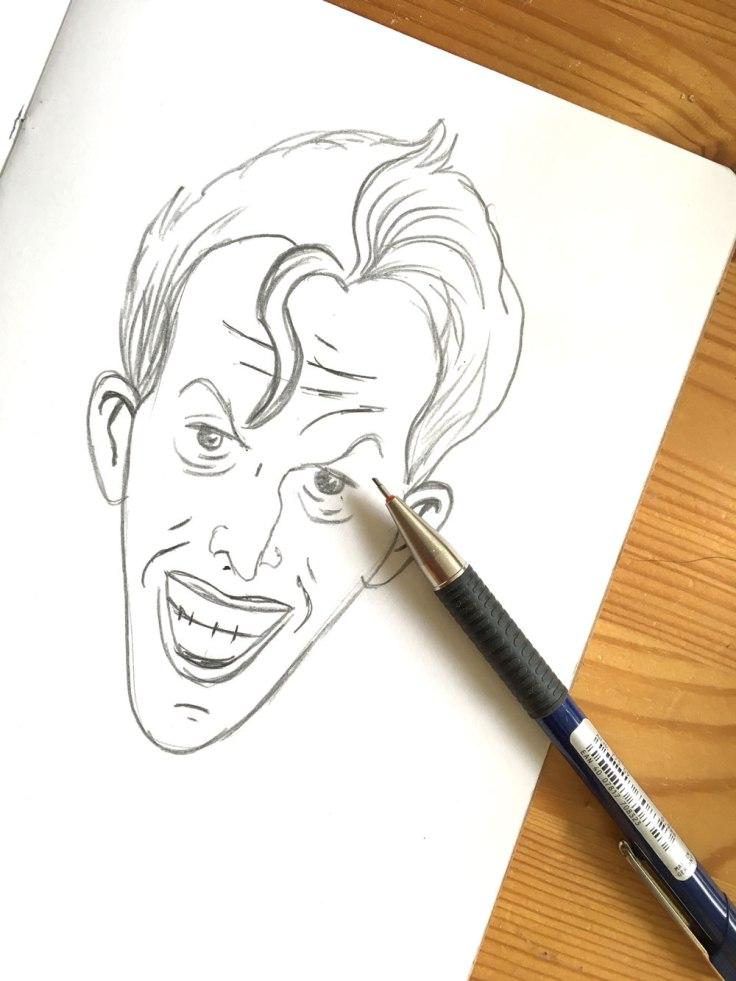 Du papier + un crayon (ou un porte-mine) = un dessin du Joker