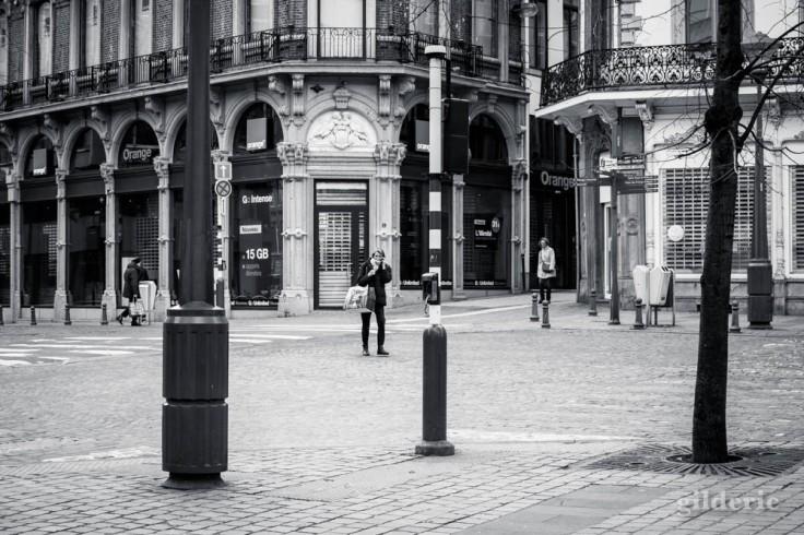 Liège en quarantaine (coronavirus) : la cité des femmes (photo en noir et blanc)
