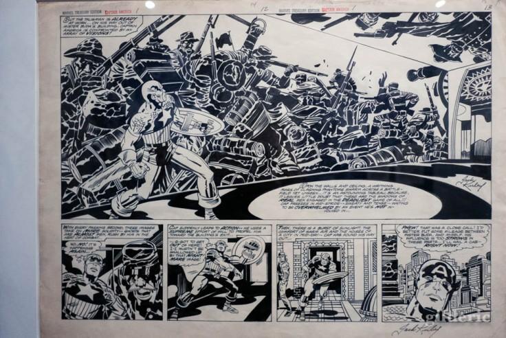 Planche de Captain America, dessinée par Jack Kirby