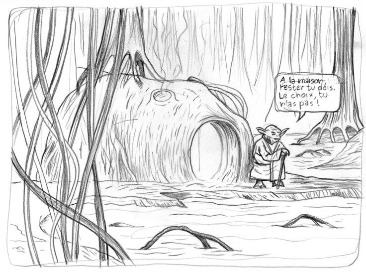 Yoda sur Dagobah (dessin au crayon)