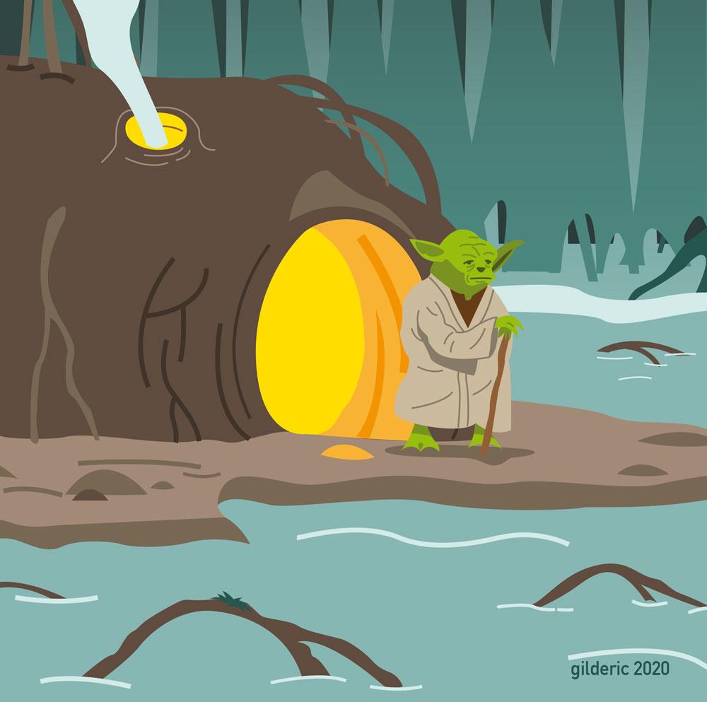 Yoda sur Dagobah - Illustration vectorielle (détail)