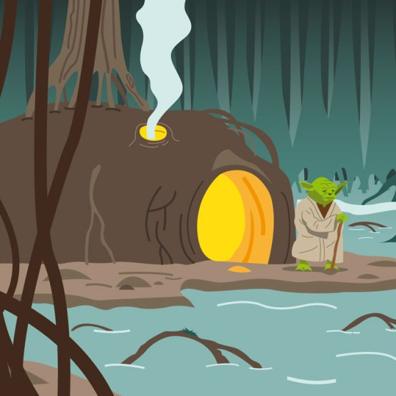 Yoda sur Dagobah - Illustration vectorielle
