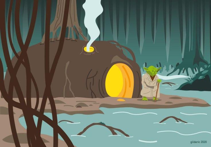 Yoda sur Dagobah - Illustration vectorielle