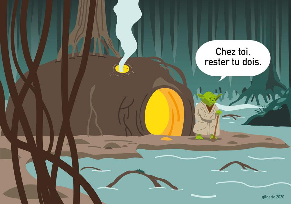 """Yoda sur Dagobah (""""Chez toi rester tu dois"""") - dessin vectoriel"""
