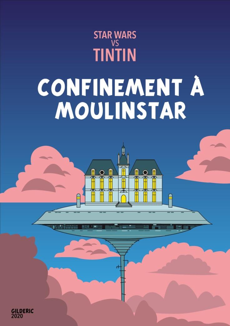 Tintin vs Star Wars : Confinement à Moulinstar (Moulinstar vs Cloud City) - couverture version bleue