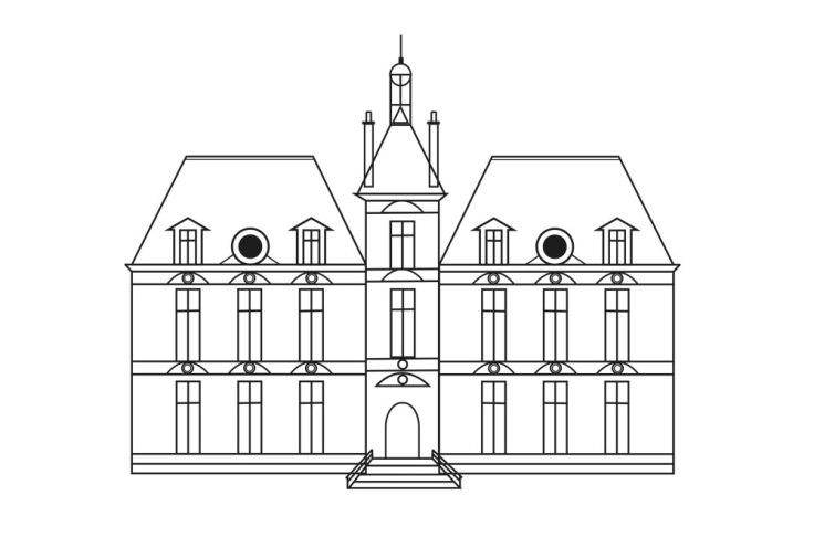 Château de Moulinstar (d'après Moulinsart et Cheverny) - dessin vectoriel