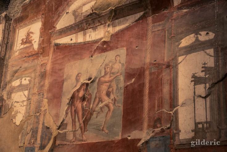 Hercule affronte Achéloos (fresque du Sacellum des Augustales)