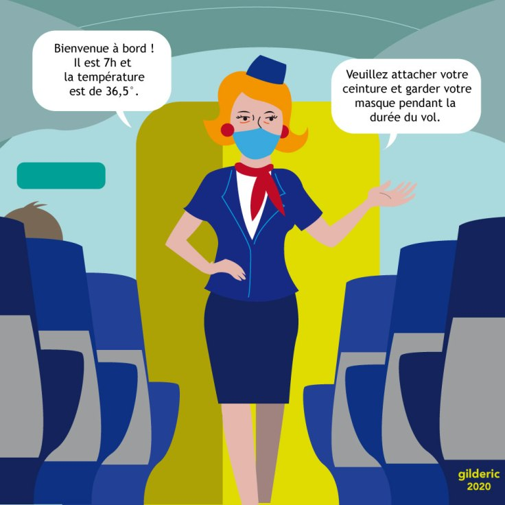 Hôtesse dans l'avion (coronavirus) - flat design illustration