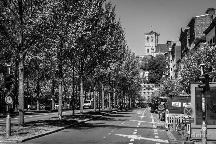 Saint-Martin et le boulevard de la Sauvenière : chroniques du confinement en noir et blanc