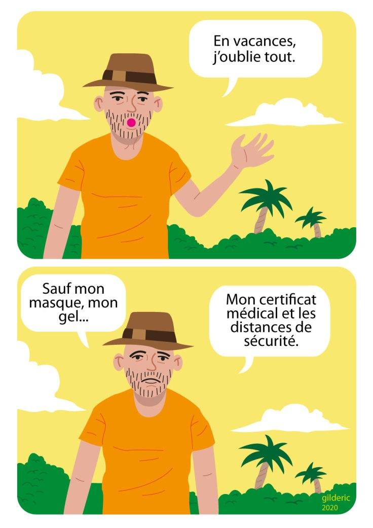 Vacances j'oublie tout... sauf les mesures de sécurité (coronavirus) - dessin humour (flat design illustration)