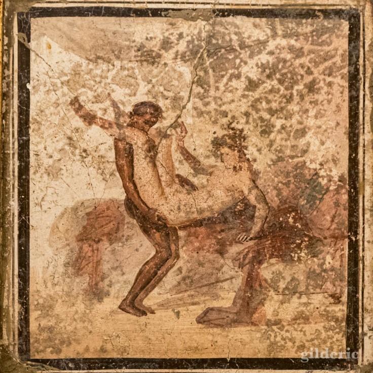 Fresque érotique de Pompéi (couple faisant l'amour) au Musée archéologique de Naples