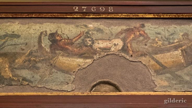 Fresque érotique de Pompéi (scène mythologique ?) au Musée archéologique de Naples