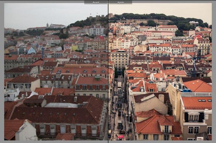 Exemple avant/après du traitement d'une photo sur Lightroom
