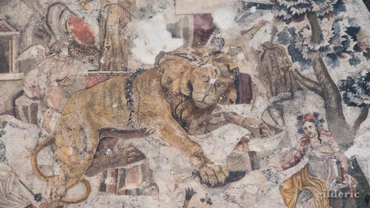Lion (mosaïque de Pompéi) - Musée archéologique de Naples