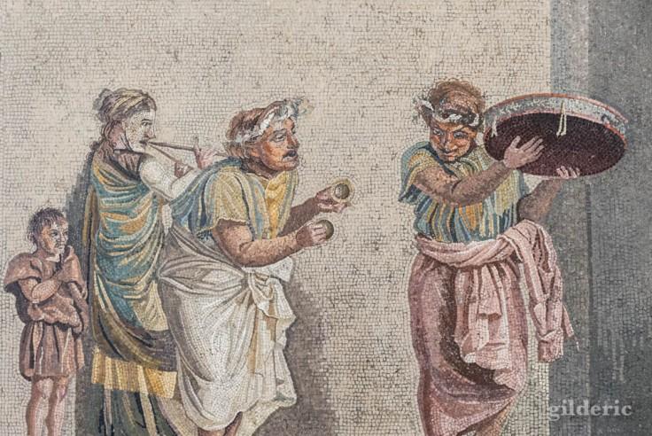 Musiciens itinérants (mosaïque de Pompéi)