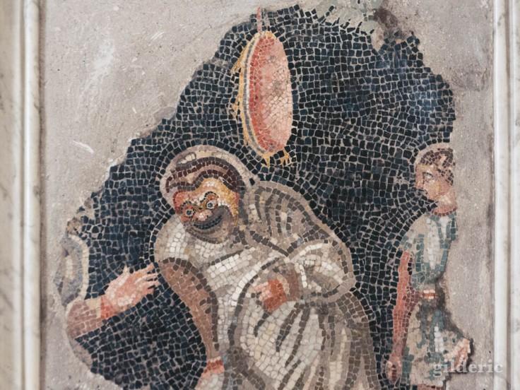 Comédiens (fresque de Pompéi) au musée archéologique de Naples
