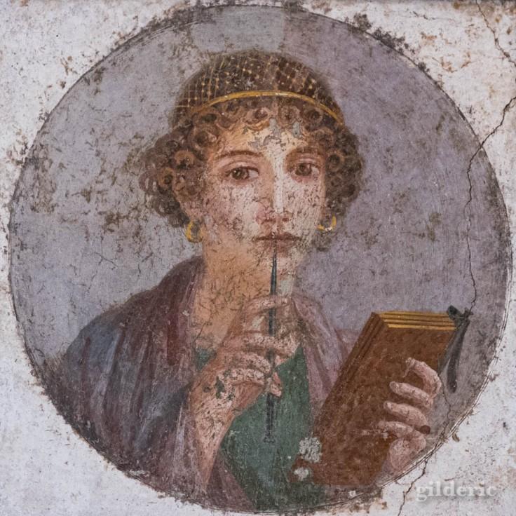 Portrait de Sappho - fresque de Pompéi au Musée archéologique de Naples