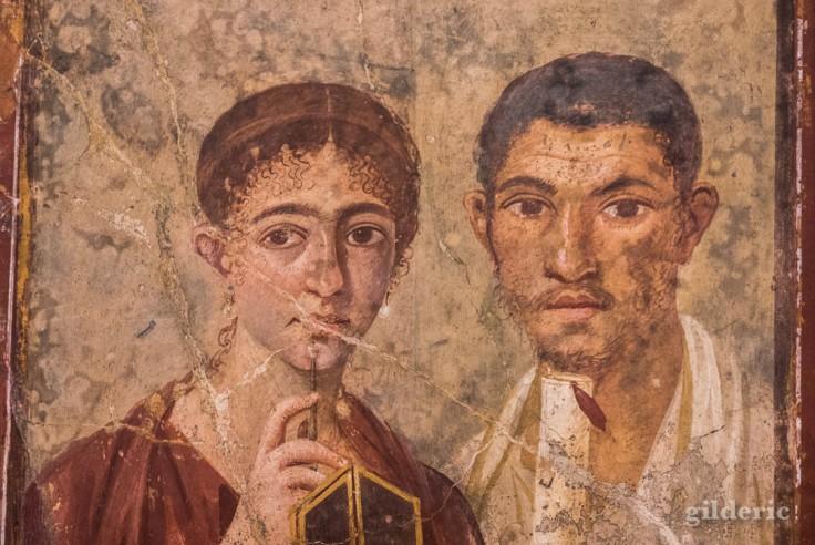 Portrait de Paquius Proculus et de son épouse- fresque de Pompéi au Musée archéologique de Naples