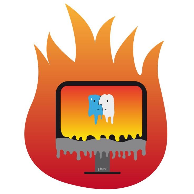 Trop chaud pour travailler : iMac en train de fondre (vector illustration)