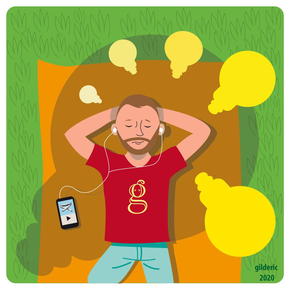 Faire la sieste et avoir des idées (vector illustration)