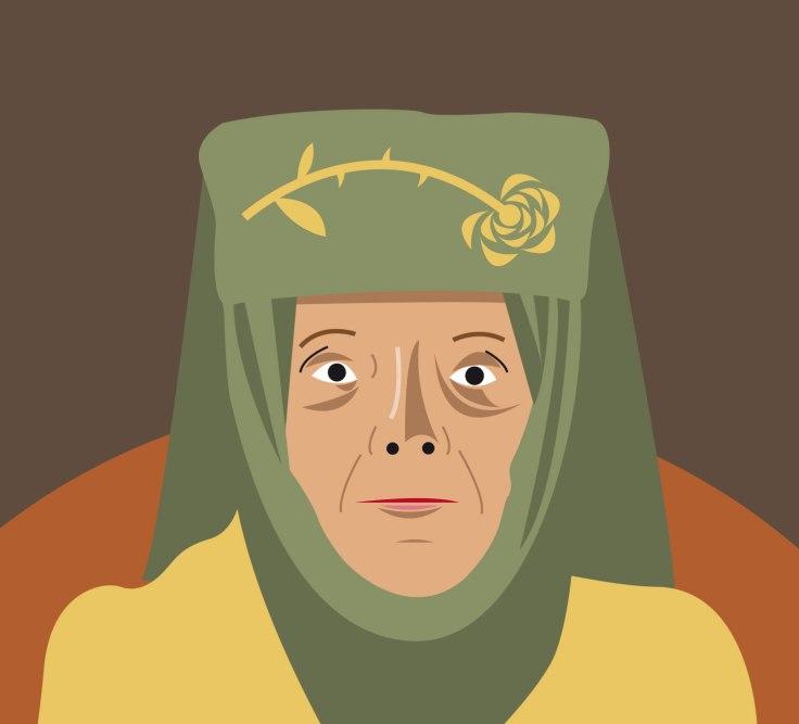 Diana Rigg est Olanna Tyrell dans Game of Thrones (vector illustration)