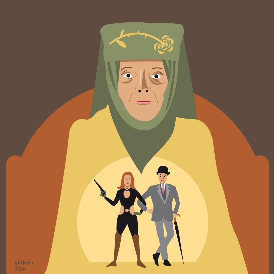 Diana Rigg : de Emma Peel à Olanna Tyrell (portrait) - vector illustration