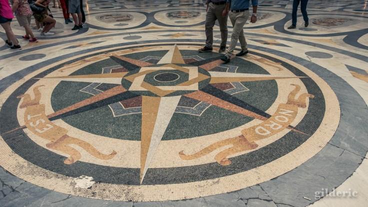 Visiter Naples : rose des vents en mosaïque, au centre de la Galleria Umberto I