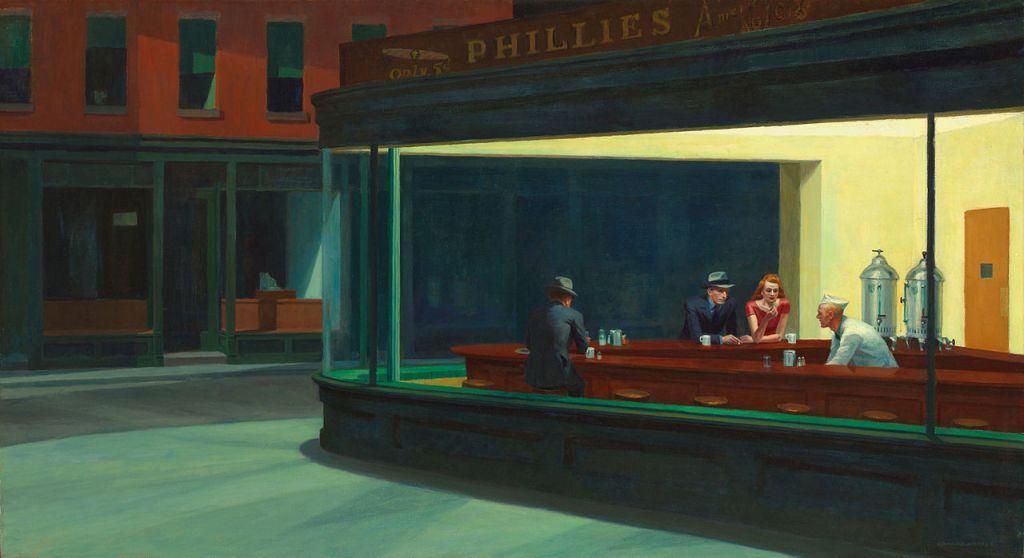"Nighthawks (""Les Noctambules""), chef-d'oeuvre de Edward Hopper."