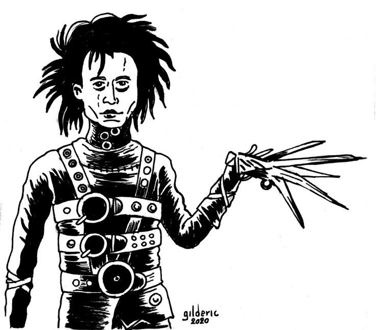 Edward aux mains d'argent (Edward Scissorhands) - dessin à l'encre