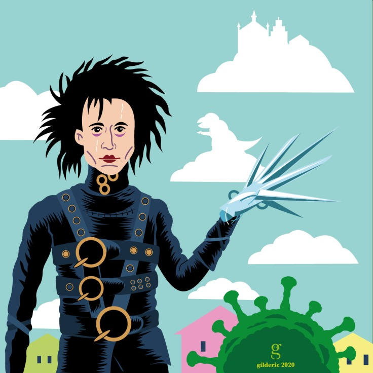 Edward Scissorhands - flat design vector illustration (version light)