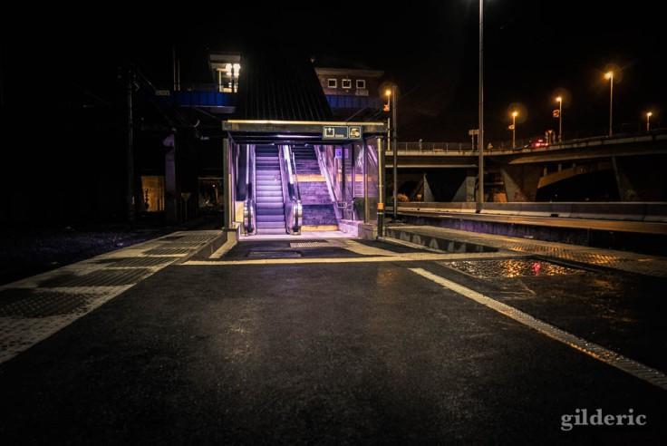 Gare de Visé : une lumière violette dans la nuit
