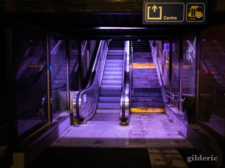 Gare de Visé la nuit : cage d'escalier