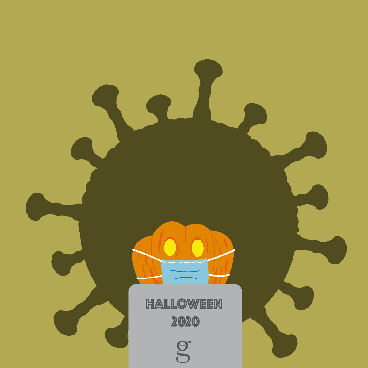Halloween confiné : illustration vectorielle flat design
