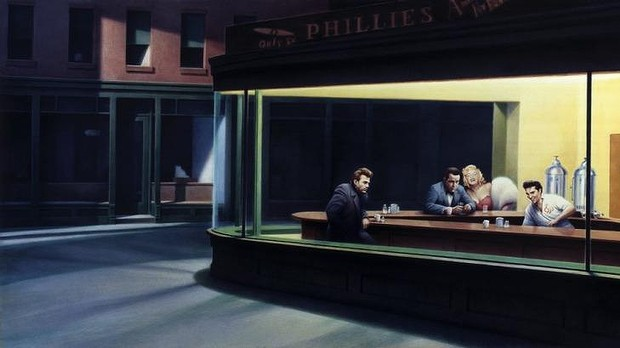 """Boulevard of Broken Dreams de Gottfried Helnwein parodie """"Nighthawks"""" de Edward Hopper"""