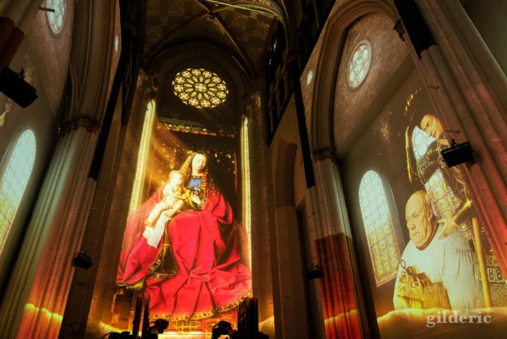 Lights on Van Eyck : projection de la Vierge au chanoine Van der Paele