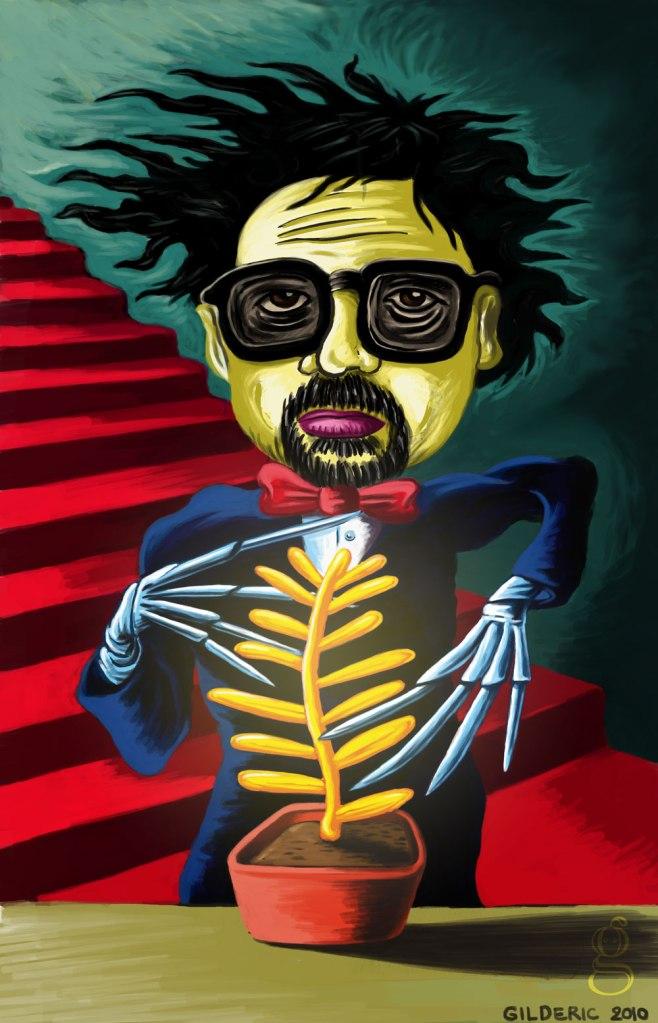 Tim Burton et la Palme d'or - Portrait (peinture numérique)