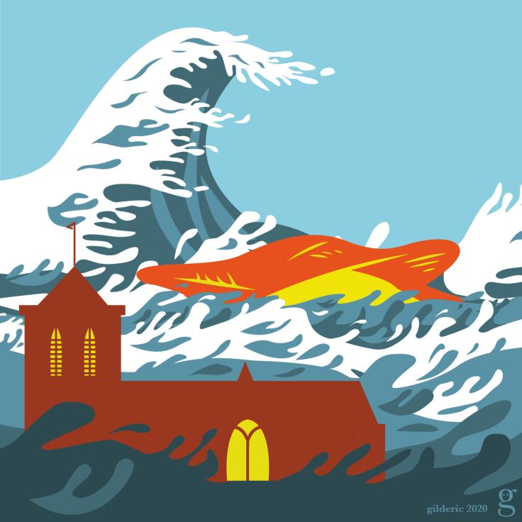 Seconde vague sur Liège - illustration flat design vectorielle