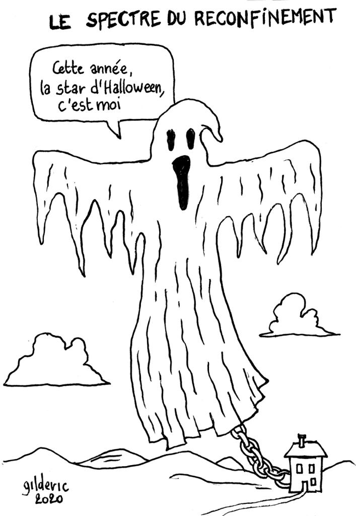 Le spectre du reconfinement à Halloween - dessin humoristique