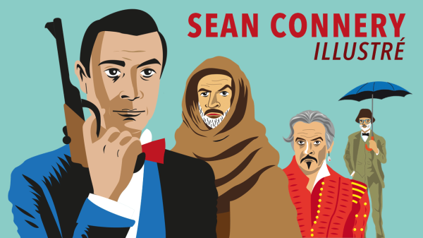 Sean Connery illustré (en dessins vectoriels flat design)