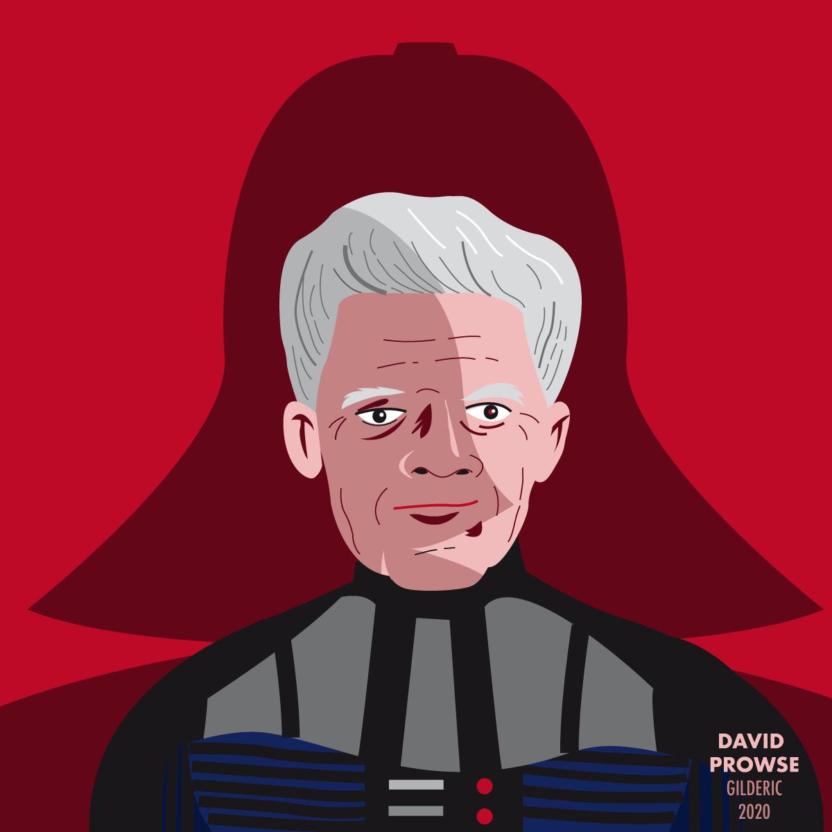 Portrait de David Prowse, dans l'ombre de Dark Vador (flat design vector illustration)