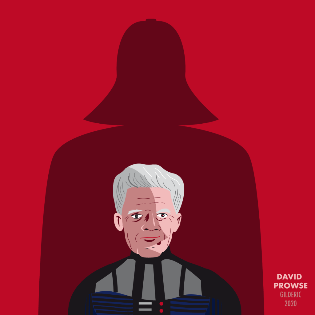 David Prowse dans l'ombre de Dark Vador (illustration vectorielle en flat design)