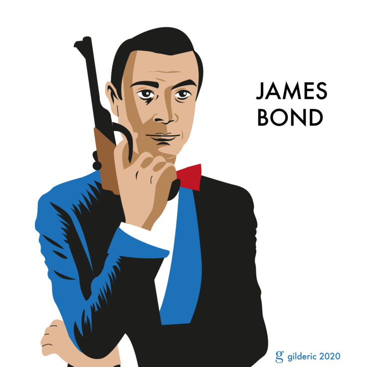 Sean Connery est James Bond 007 - illustration vectorielle en flat design