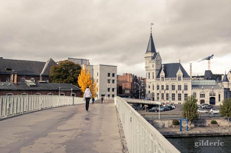 Automne à Liège : la passerelle Saucy et la Grand Poste (photo)