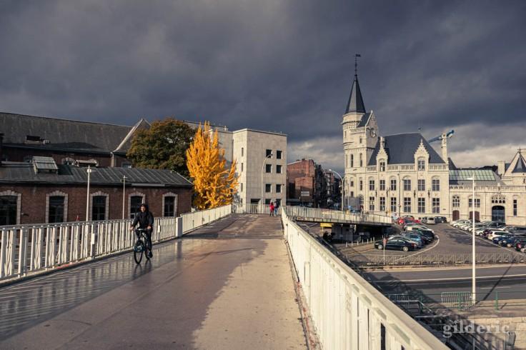 Liège en automne : de la passerelle à la Grand Poste, sous une étrange lumière (photo)