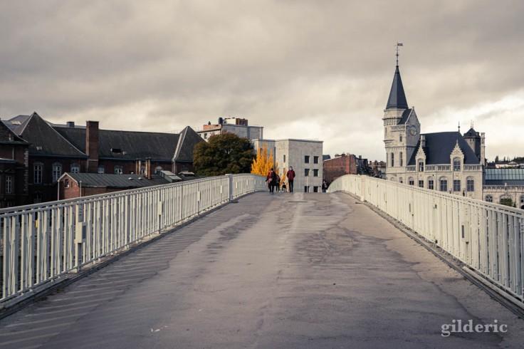 Liège en automne : sur la passerelle Saucy