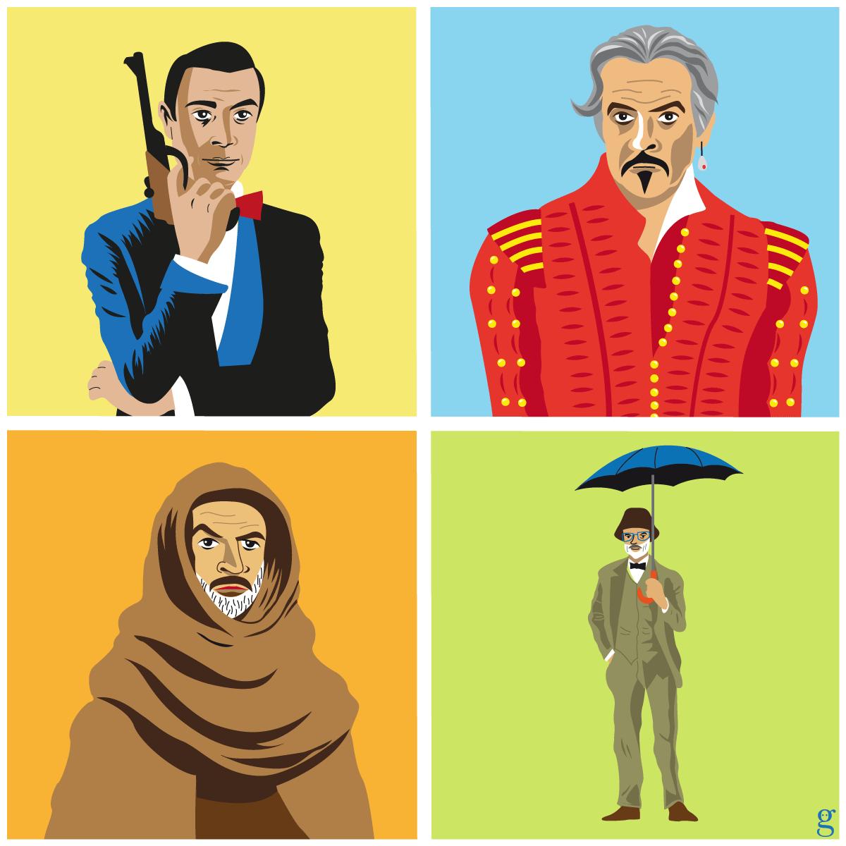 Sean Connery illustré : de James Bond à Henry Jones (dessin vectoriel flat design)