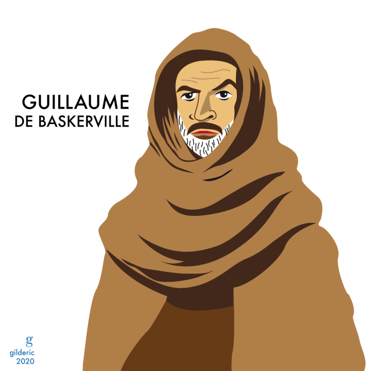 Sean Connery est Guillaume de Baskerville (illustration vectorielle en flat design)