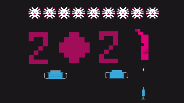 Happy 2021 : parodie de Space Invaders