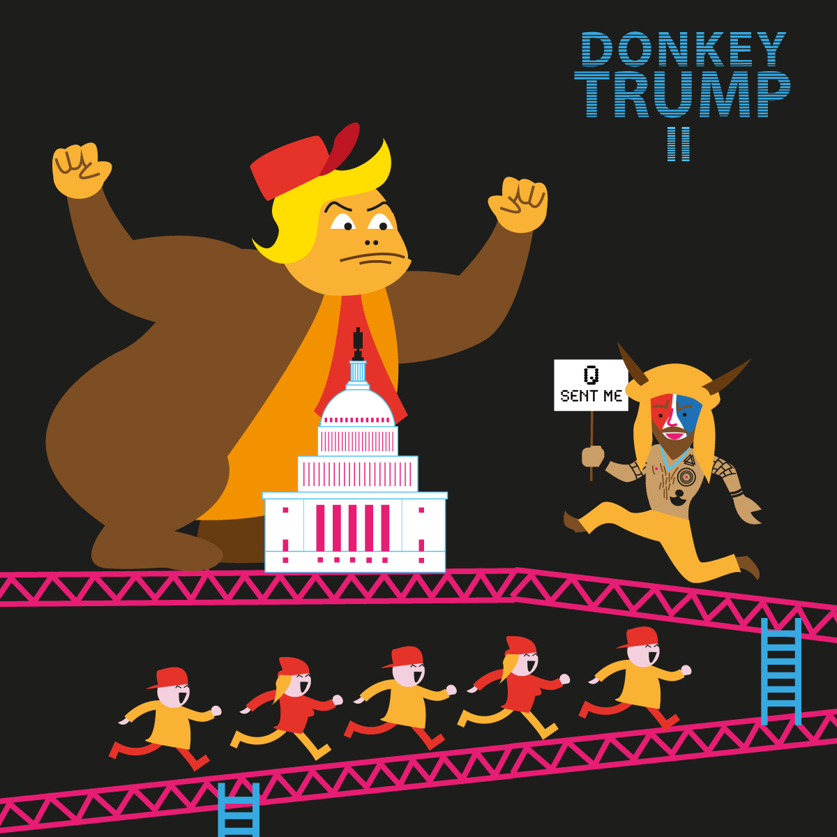 Donkey Trump et le Capitole (illustration vectorielle en flat design)