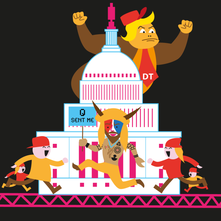Invasion du Capitole (détail de Donkey Trump) - illustration vectorielle en flat design